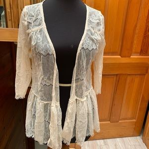 Lily White Cream Sheer Lace Cardigan